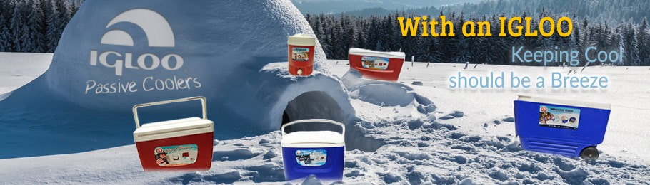 Range of Igloo coolers placed around a real life igloo - click to learn more about our range of Igloo passive coolers