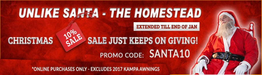 The 10% Homestead Caravans Christmas Sale - Now Extended until End of January - enter SANTA10 at the checkout.