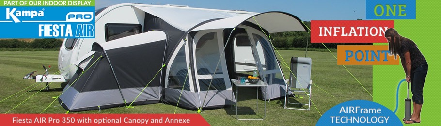 Check out the 2017 Kampa Fiesta AIR Pro awning range - Image of Fiesta with optional side annexe and canopy set up at Homestead Caravans