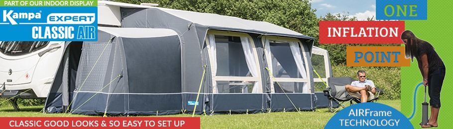 Check out the all new 2017 Kampa Classic AIR Expert awnings - photo of Kampa Classic AIR Expert set up outdoors at Homestead Caravans