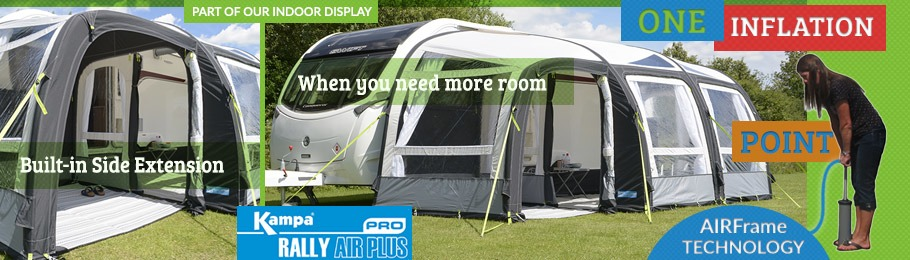 Check out the all new 2017 Kampa Rally AIR Pro 390 Plus - Banner shows the awning on display outdoors at Homestead Caravans