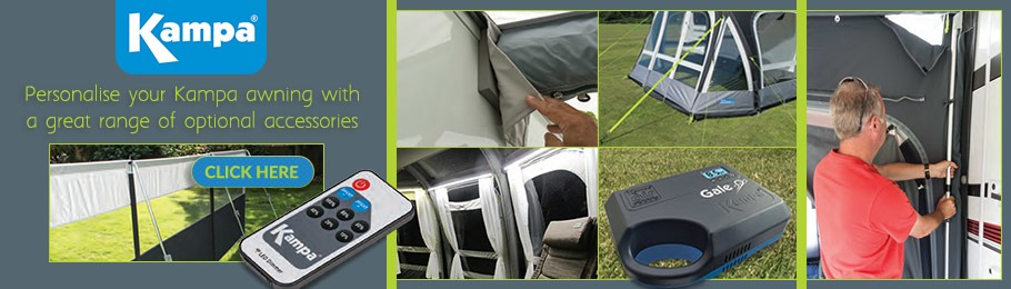 View our range of Kampa Awning Accessories - Banner includes a collage of Kampa accessories