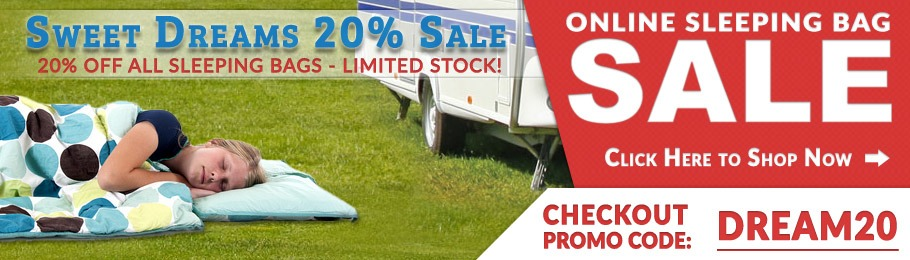 20% Off Sleeping Bags - Picture of woman outdoors on campsite tucked up inside a sleeping bag and fast asleep