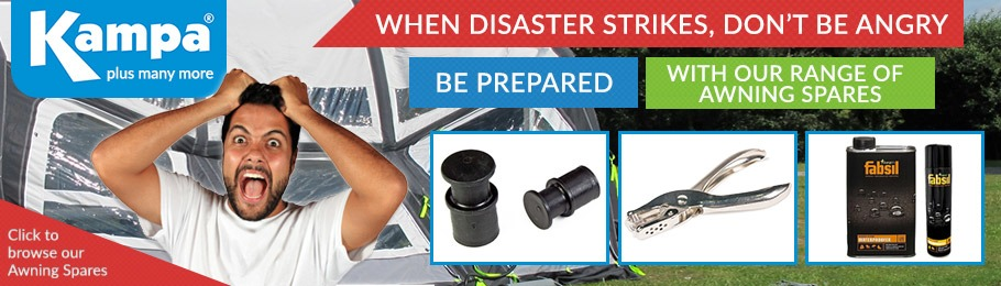 When disaster strikes make sure you're prepared with our ran ge of caravan awning accessories - image of man panicking with damaged awning in the background