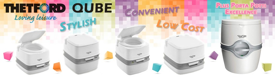 Thetford Qube Porta Potti Range - Image shows Qube range and Porta Potti Excellence