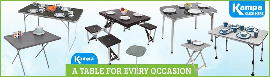 Browse our fabulous range of Kampa camping tables - Image of tables in various styles