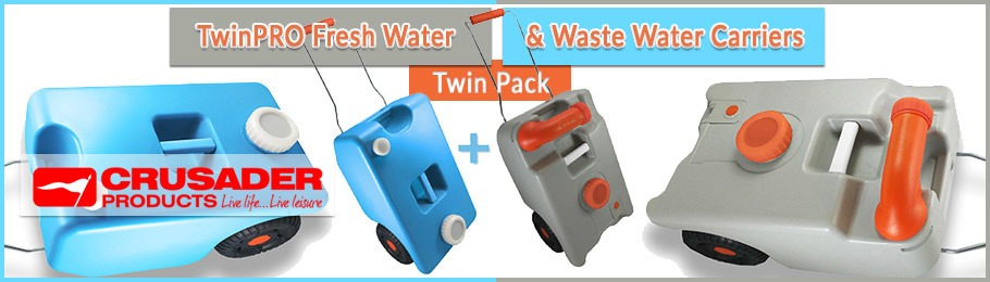 Crusader TwinPRO Wheeled Water & Waste Carriers Twin Pack - Image of twinpack water containers