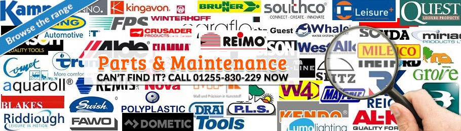 All the leading industry spare parts for caravans, camping and motorhomes - Collage of brand name logos