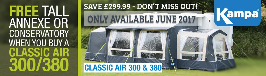 Image of Kampa Classic AIR Expert 380 - FREE Tall Annexe or Conservatory WORTH £299.99 with every Kampa Classic AIR Expert 300 / 380 Inflatable Caravan Awning