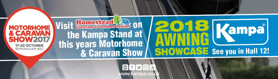 Kampa Awning in background, text reads: Visit Homestead & Kampa at the NEC Motorhome & Caravan Show 2017