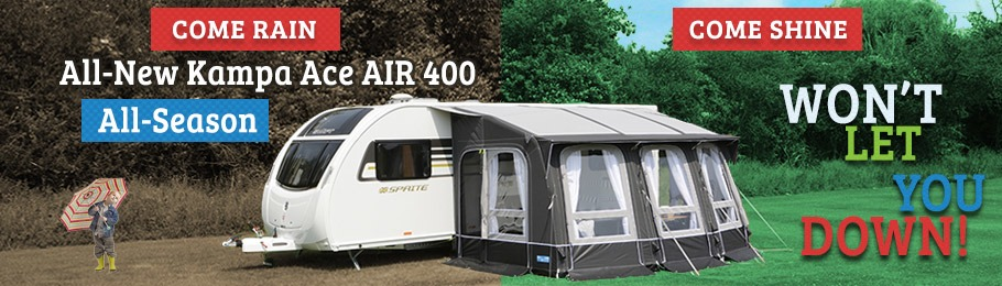 Kampa Ace AIR 400 All-Season Caravan Awning - it won't let you down