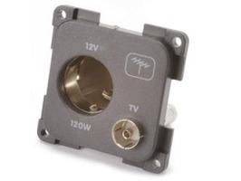 CBE 12v (Auto) Socket + TV Socket - Grey