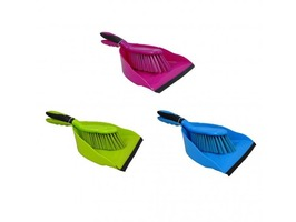 JVL Dust Pan & Brush with Rubber Grip