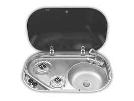 Smev MO8322 2 Burner & Sink Combi with Glass Lid