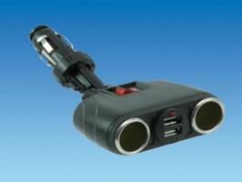 Double USB Cigarette Socket with Switch
