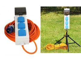 Camping Electric Hook Up & Tripod Support Stand Package