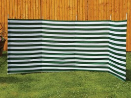 Quest Shetland 5 Pole Green Stripe Windbreak