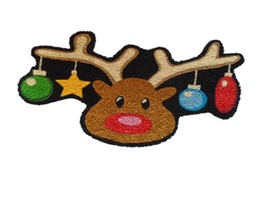 JVL Novelty Reindeer Shaped PVC Coir Mat
