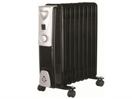 Kingavon 2kW 9 Fin Black Slimline Oil Filled Radiator