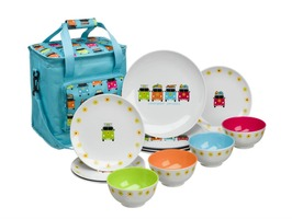 Flamefield Camper Smiles 12 Piece Melamine Dinner Set with 16 Ltr Cooler Bag