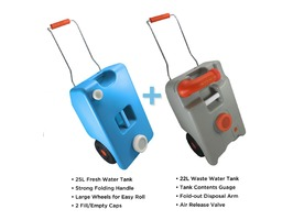 Crusader TwinPRO Wheeled Water & Waste Carriers Twin Pack
