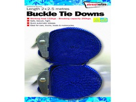 Streetwize 2 x 2.5m Ratchet Tie Downs