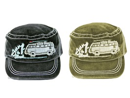 VW Military Style 'Surf the Street' Baseball Cap - Black or Olive