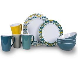 Kampa Flora Heritage 16 Pce Melamine Dinner Set