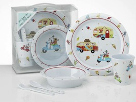 Flamefield Sparky & Friends Vintage Holiday Kids Melamine Set