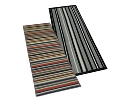 JVL Striped Machine Washable Runner 57cm x 150cm
