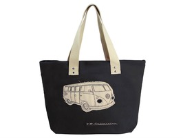 VW Campervan Black Canvas Shopping Bag