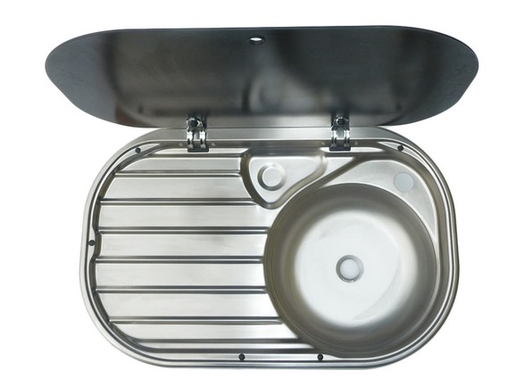 Smev va8306 sink drainer with glass lid homestead caravans - Caravan kitchen sink ...
